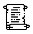 scroll parchment paper icon outline vector image vector image