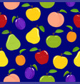 seamless fruit pattern on blue background vector image