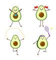 set avocado sport avocado character design vector image vector image