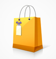 Shopping yellow paper bag vector image vector image