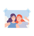 shot smiling teenage girls making selfie using vector image vector image