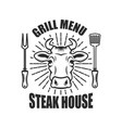 steakhouse emblem template with cow head and vector image vector image