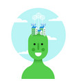 think green idea concept with eco friendly man vector image vector image