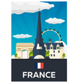 travel poster to france flat vector image vector image