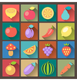 vegetables icons in flat design style vector image vector image
