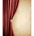 Vintage background with red old curtain and hand vector image vector image