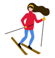 woman with long hair skiing hobbrunette vector image vector image