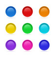 set of blank round button for website 3d glass vector image