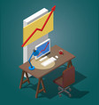 empty desktop for businessman isometric vector image