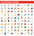 100 museum icons set isometric 3d style vector image vector image