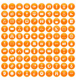 100 sport journalist icons set orange vector image vector image