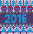 2016 pattern Background of new year with knitted vector image