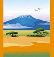 african landscape with kilimanjaro mountain vector image