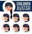 asian girl avatar set kid primary school vector image vector image