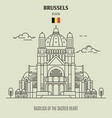 basilica of the sacred heart in brussels vector image