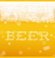 beer background with realistic bubbles and text vector image vector image