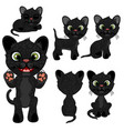 black kitten in different poses in cartoon style vector image vector image
