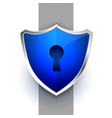 blue security shield symbol with key lock design vector image vector image