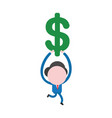businessman character running and holding dollar vector image vector image