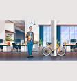 businessman holding laptop creative office vector image
