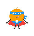 cartoon superhero character orange flat design vector image vector image