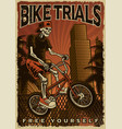 colourful poster a skeleton is jumping on bike vector image vector image