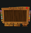 complete interface pirate menu for slot machines vector image