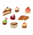 Cupcakes cakes dessert and waffles vector image vector image