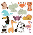 cute animals set in cartoon vector image vector image
