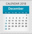 december 2018 calendar calendar sticker design vector image vector image