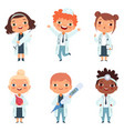 doctor profession childrens in different poses vector image vector image