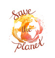 Earth day with hand drawn watercolor planet