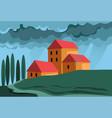 farm in countryside summer rainy evening vector image