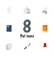 flat icon stationery set of copybook notepaper vector image vector image