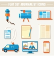 Flat set of equipment for journalism background vector image