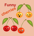 fresh juicy ripe cherry cartoon character funny vector image