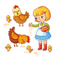 girl feeding hens and chickens vector image