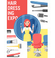 hairdressing expo beauty salon equipment poster vector image vector image