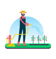 happy farm man taking care of organic fruit crops vector image