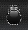 heraldic shield and crown on metallic background - vector image vector image