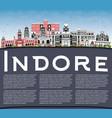 indore india city skyline with gray buildings vector image