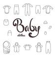 Lettering with icons clothes newborn vector image