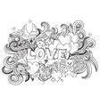 Love doodles background vector image vector image