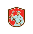 Mechanic Holding Spanner Wrench Shield Retro vector image vector image