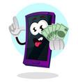 mobile phone emoji holding money on white vector image vector image