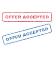 offer accepted textile stamps vector image vector image