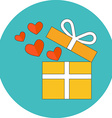 Open gift box with flying hearts Flat design Icon vector image vector image