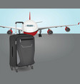 plane with suit case vector image vector image
