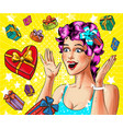 pop art happy young woman with gift boxes vector image