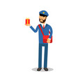 postman in blue uniform with red bag delivering vector image